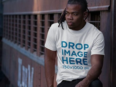 Mockup of a Round Neck Tee Featuring a Young Black Man With Locs Style a8770