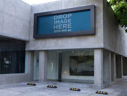 Horizontal Banner Mockup Outside a Concrete Building a10856