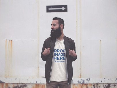 T-Shirt Mockup Featuring a Hipster Bearded Man Carrying a Backpack a11525