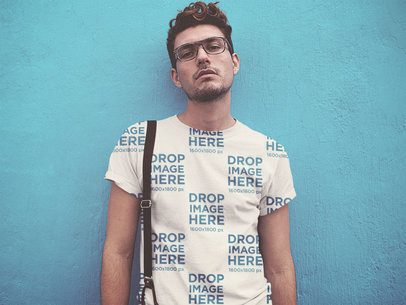 Sublimated T-Shirt Mockup of a Hipster Guy Wearing Suspenders a11526