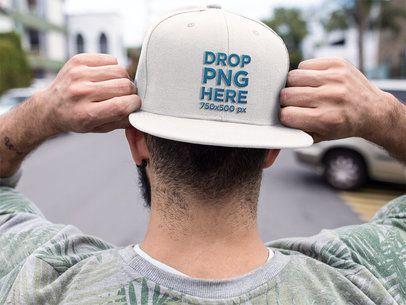 Backwards Snapback Hat Mockup of a Trendy Guy a11840