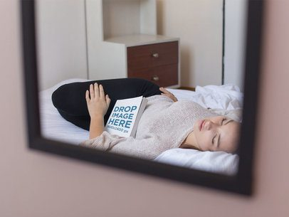 Through the Mirror Mockup of a Beautiful Girl Sleeping in a Bed With a Book Besides Her a14269