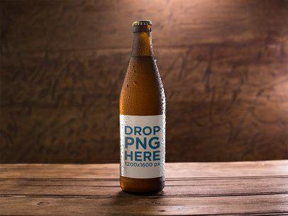 Amber Weizen Beer Bottle Template On a Wooden Surface a14666