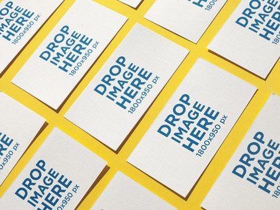 Mockup of Business Cards Lying on a Yellow Surface a15013