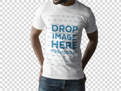 Young Black Man Wearing a T-Shirt Mockup Against a Transparent Background a15158